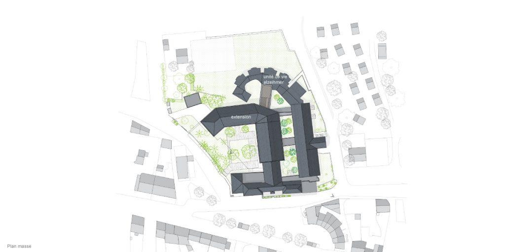 vue générale du parc de la résidence